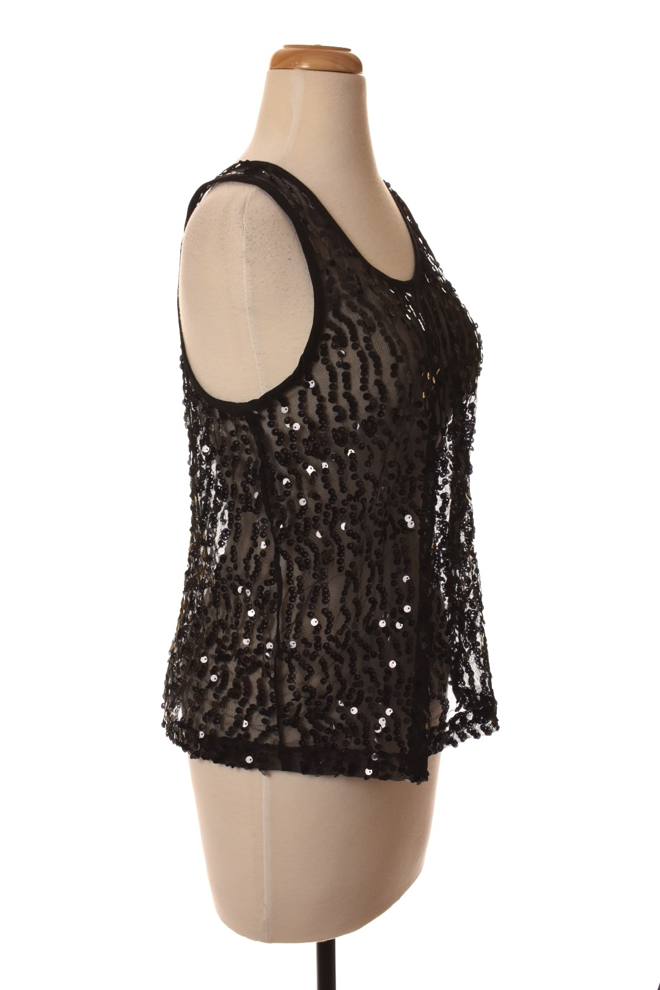 c5b1be44e8fb8c FUN AND FLIRT black sequin sleeveless top