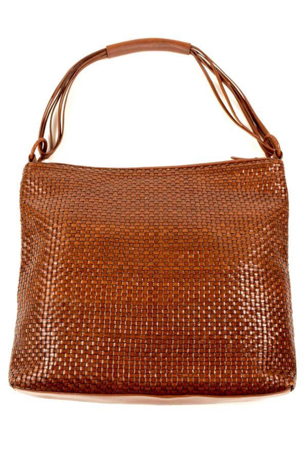 LAURA ASHLEY brown leather woven handbag  b759dc4b7bf26