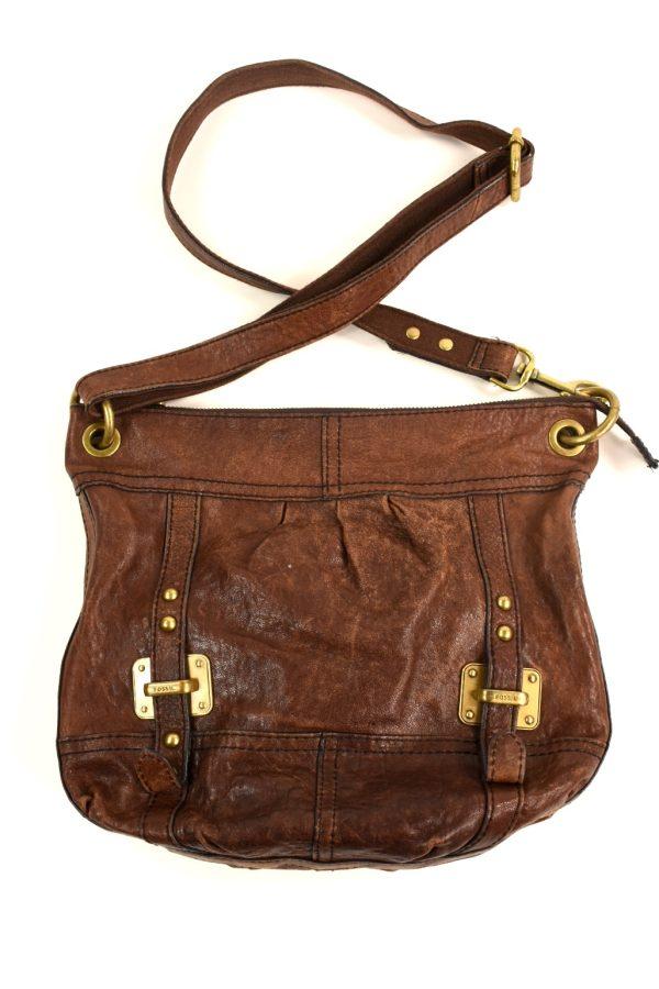 0541941de FOSSIL genuine brown leather messenger bag     Modaville