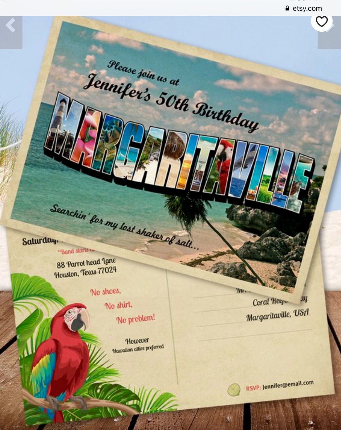 MARGARITAVILLE Birthday Invitation Postcard